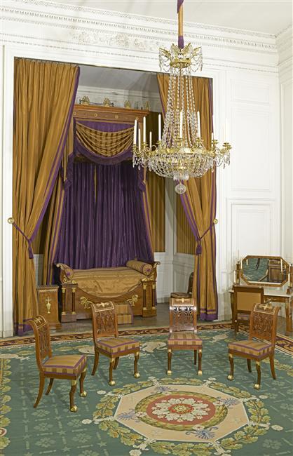 Palais de Compiègne, grande chambre à coucher de l'appartement double de Prince (état restitué : Premier Empire)