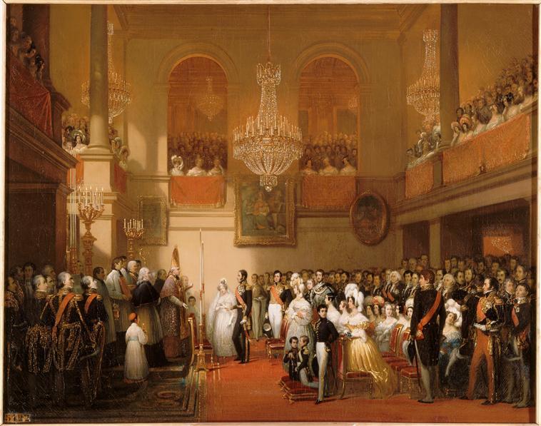 Court, Mariage de Léopold Ier, roi des Belges, et de la princesse Louise d'Orléans, huile sur toile, 1837, Palais de Compiègne