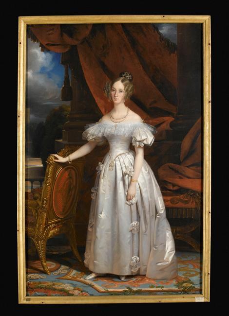 Claude-Marie Dubufe, Portrait de Louise d'Orléans, reine des Belges, huile sur toile, Salon de 1837, Palais de Compiègne