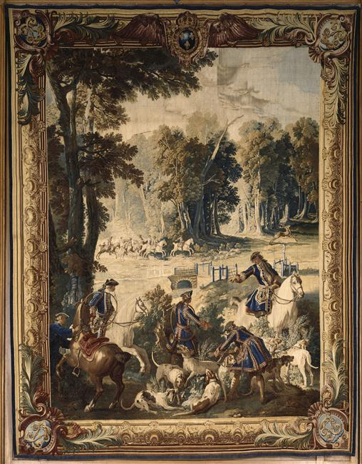 Manufacture royale des Gobelins, d'après Oudry, Le Relais, pièce de la tenture des Chasses de Louis XV, Palais de Compiègne
